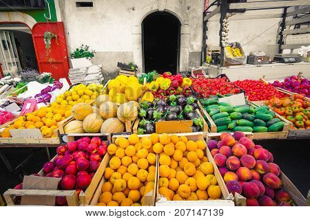 local market greengrocery food miles fruits and vegetable shelves