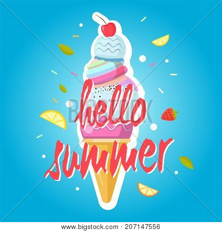 Hello summer ice cream cone, colorful background. Color sweet ice cream food, dessert ice-cream, vector illustration