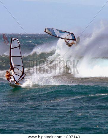 Windsurfer geht Horizontal