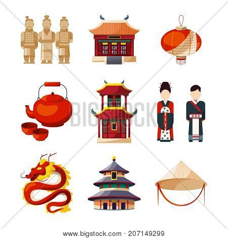 Culture icons set. Traditional chinese elements. Vector illustration in cartoon style. Chinese traditional culture symbol