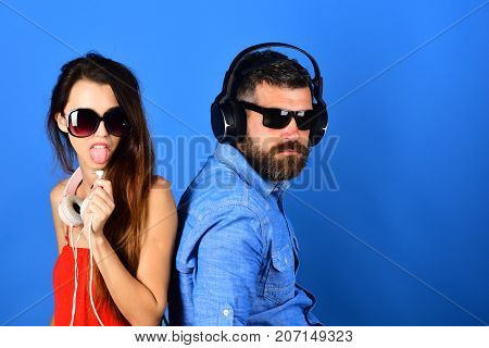 Music Fans With Fancy Faces Enjoy Music, Copy Space.