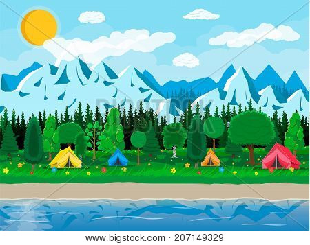 Meadow with grass and camping. Tents, flowers, mountains, trees, sky, sun and clouds. Lake and rocks, river. Nature landscape. Vector illustration in flat style