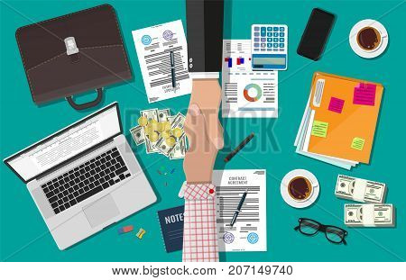 Two businessman shake hands after the signed contract. Contract agreement. Desktop laptop, calculator, contract financial papers, coffee, pen, notes, briefcase phone. Vector illustration in flat style