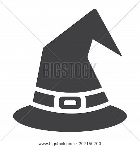 Witch hat glyph icon, halloween and scary, wizard hat sign vector graphics, a solid pattern on a white background, eps 10.