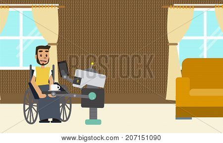 Domestic robot brings tablet and cup of coffee for his disabled man owner sitting at wheelchair. Personal robot assistance futuristic concept illustration vector.