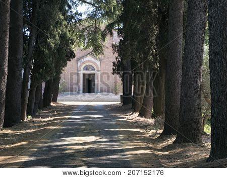 Historic church of San Tomaso along the road from Cesena to Sogliano al Rubicone