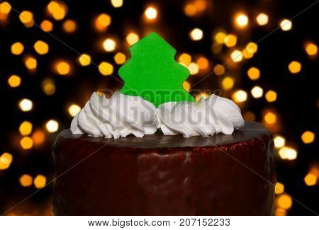 Cake with a herringbone close up on a bokeh background