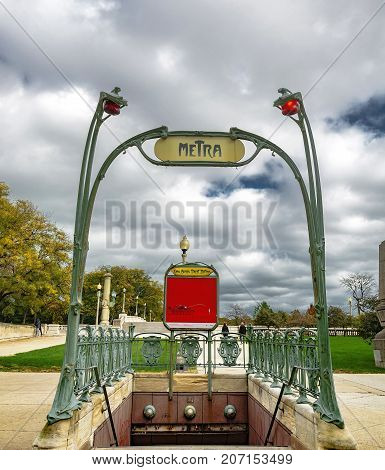 Chicago IL USA october 27 2016: Van Buren Street station is a commuter rail station in downtown Chicago. One of the station's entrances is a replica of an Hector Guimard-designed Art Nouveau-style Paris Métro entrance.