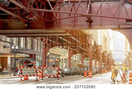 Chicago IL USA october 2016: Road closed signs under the Chicago elevated subway