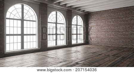 Large empty room in loft style with big arched windows. Interior mock up with wooden floor and brick wall. 3D render.