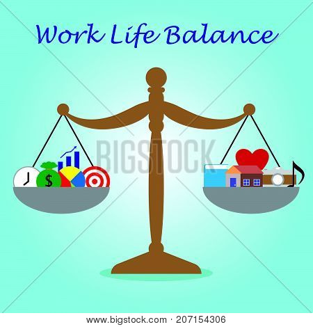 Vector Business Concept As Illustration Of Wooden Scale Is Weighing Five Business Icons On The Left And Five Leisure Icons On The Right Equally On Blue Background Represent Work Life Balance.