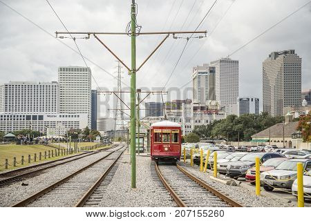 NEW ORLEANS USA - OCTOBER 18: New Orleans Streetcar Line on October 18 2016. Newly revamped after Hurricane Katrina in 2005 the New Orleans Streetcar line began electric operation in 1893.