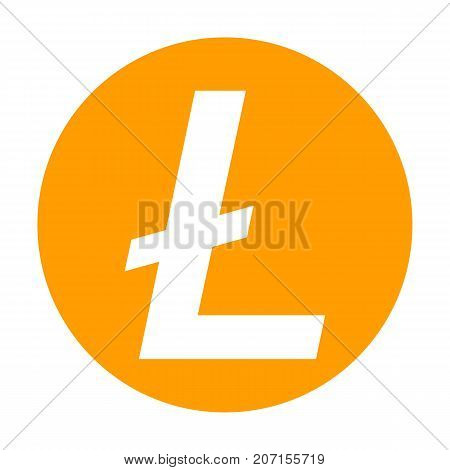 Litecoin icon for internet money. Crypto currency symbol for using in web projects or mobile applications. Blockchain based secure cryptocurrency. Isolated vector sign.