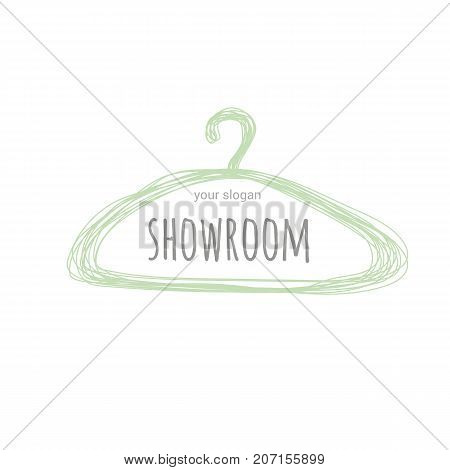 Vector logo template for women's clothing showroom or boutique in popular colors in 2016. Hanger draw a pencil.
