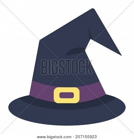 Witch hat flat icon, halloween and scary, wizard hat sign vector graphics, a colorful solid pattern on a white background, eps 10.