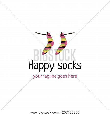 Vector logo template for socks store cards design. Illustration of socks on a rope. Can be used for design banners textile industry. Creative logotype.
