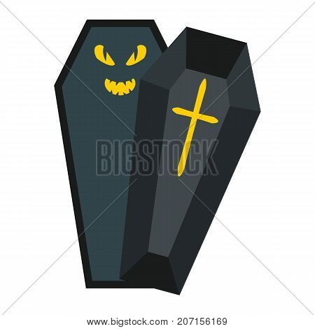 Halloween Coffin flat icon, halloween and scary, dead sign vector graphics, a colorful solid pattern on a white background, eps 10.