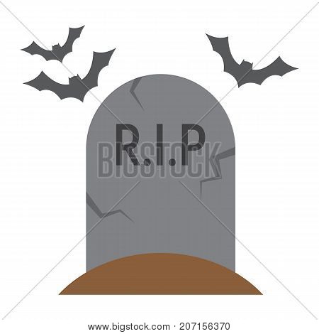 Tombstone flat icon, halloween and scary, grave sign vector graphics, a colorful solid pattern on a white background, eps 10.