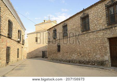 Stone street in the village of Belmonte province of Cuenca Spain.