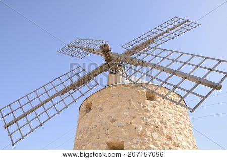 Stone windmill in Belmonte a village of the province of Cuenca Castile-La Mancha Spain.