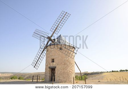 Stone windmill in the countryside of Belmonte a village of the province of Cuenca Castile-La Mancha Spain.