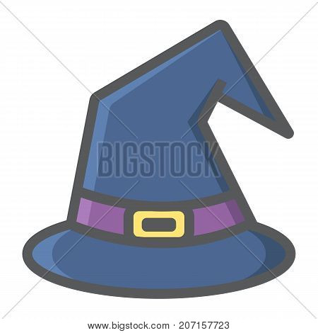 Witch hat filled outline icon, halloween and scary, wizard hat sign vector graphics, a colorful line pattern on a white background, eps 10.