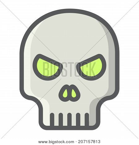 Skull filled outline icon, halloween and scary, dead sign vector graphics, a colorful line pattern on a white background, eps 10.