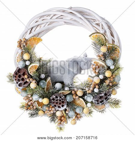 Traditional christmas wreath isolated on white background. Decorative wreath.Object for Christmas toy celebrate. Christmas decorations for New year, holiday decorations.