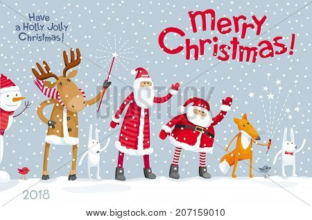 Vector Christmas greeting card - Christmas Party in the winter forest with the participation of Santa Claus and funny cartoon forest animals: elk deer fox and hares. For posters banners sales and other winter events.