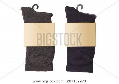 New socks on a white background. Dark socks. Isolate