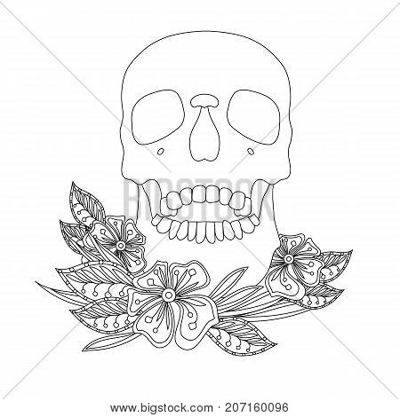 Monochrome sketch of skull and flowers stock vector illustration