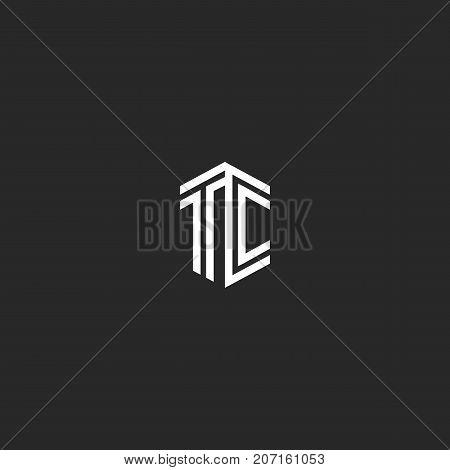 Letter Tc Logo Monogram Isometric Elegant Minimal Linear Stylish Design Element, Two Initials Letter