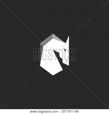 Horse Head logo abstract figure of a stallion with a mane silhouette of a mustang black and white graphic illustration