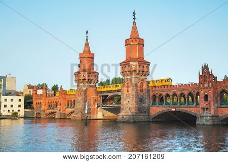 Oberbaum bridge in Berlin Germany in the morning