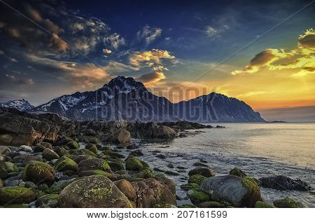 Sunset in May. Shot at Offeroya in Lofoten islands