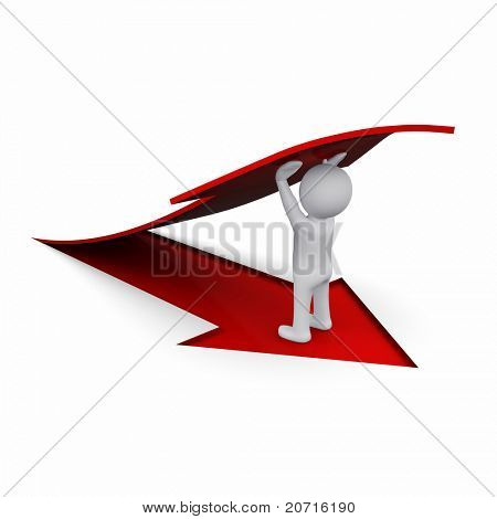 3D man holding up a red arrow symbol