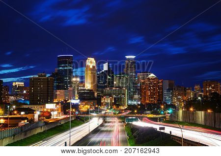Downtown Minneapolis Minnesota at the night time
