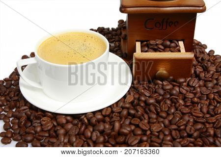 Hot coffee on bean coffee background
