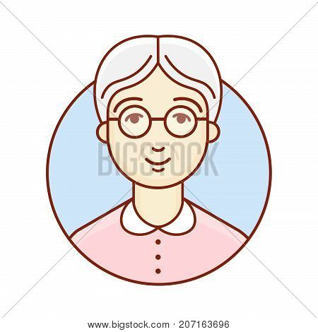 Old woman. Portrait. The face of an elderly lady. Avatar for social profile. Linear Art. Vector illustration