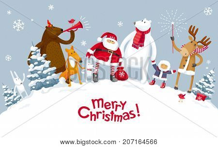 Christmas Party in the winter forest with the participation of Santa Claus and funny cartoon forest animals: elk deer fox hares bear and polar bear. For posters banners sales and other winter events.