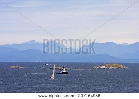 Boats off the coast of Vancouver Island