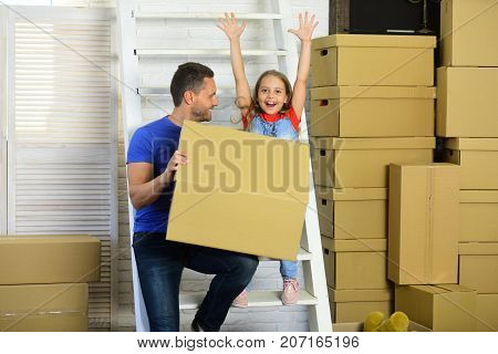 Girl And Man With Cheerful Faces With Ladder On Background.