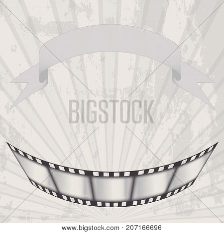 vector old movie poster in grunge style. film and a waving ribbon on the background of diverging rays