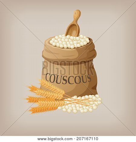 Bulgur or couscous in burlap bag. Vector illustration EPS10