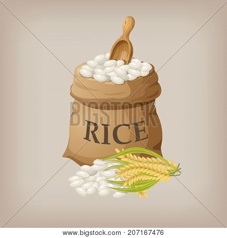 White rice in small burlap sack. Vector illustration EPS10