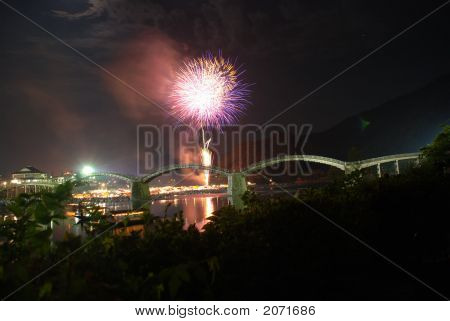 poster of Fireworks in the summer at Kintaikyo Bridge Iwakuni Japan