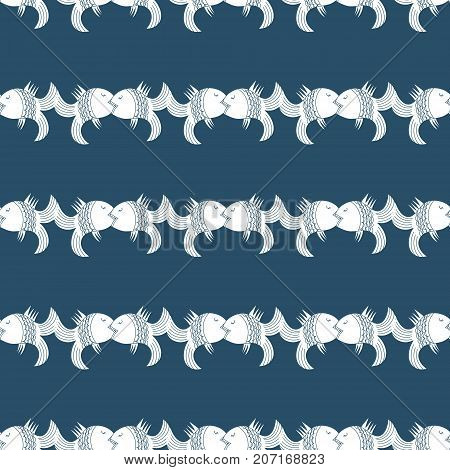 Seamless vintage pattern kissing fish on dark blue background. Beautiful original ornament to decorate fabric or wrapping paper