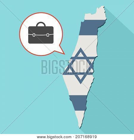 Illustration Of A Long Shadow Israel Map With Its Flag And A Comic Balloon With A Briefcase