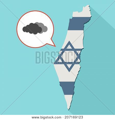 Illustration Of A Long Shadow Israel Map With Its Flag And A Comic Balloon With A Clouds