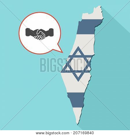 Illustration Of A Long Shadow Israel Map With Its Flag And A Comic Balloon With A Handshake